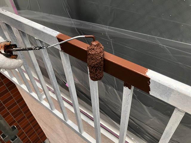 手すり、外階段の金属部塗装